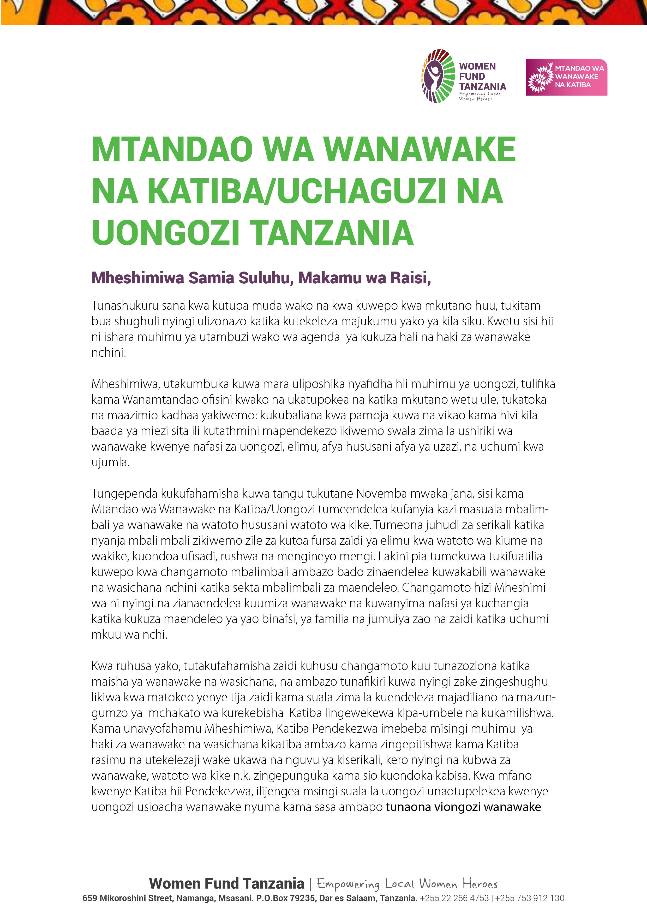 Wanawake na Katiba Taking Points-Meeting with Tanzanian Vice President Hon. Samia Suuhu-01